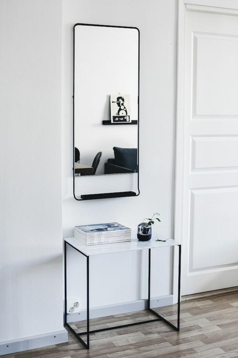 Wandgestaltung Wandfarbe Flur Weiß Wandspiegel