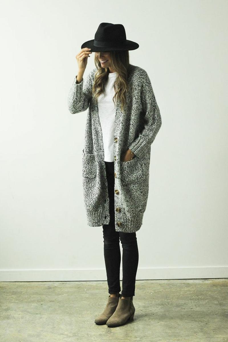 Wintermode Cardigan Damen oversize Mantel grau