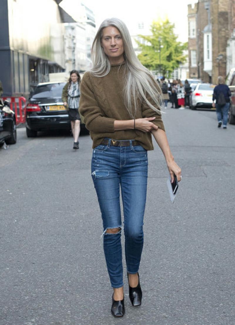 Wintermode Sweatshirt Damen Jeans