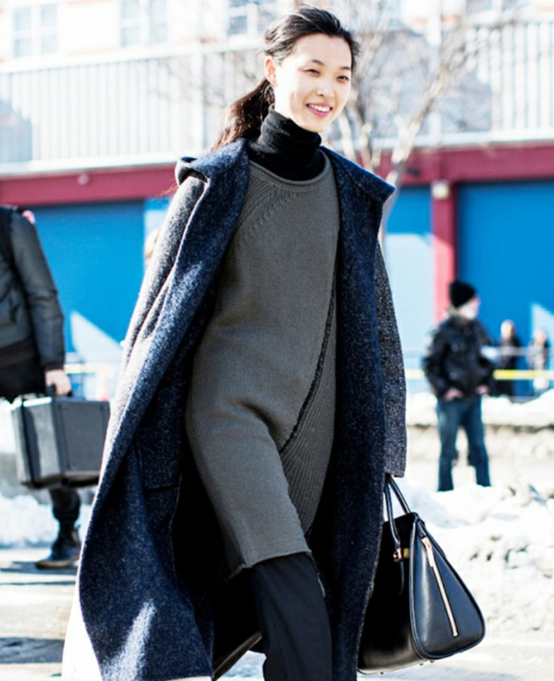 Wintermode Sweatshirt Damen Longpulli Grau Reißverschluss oversize mantel