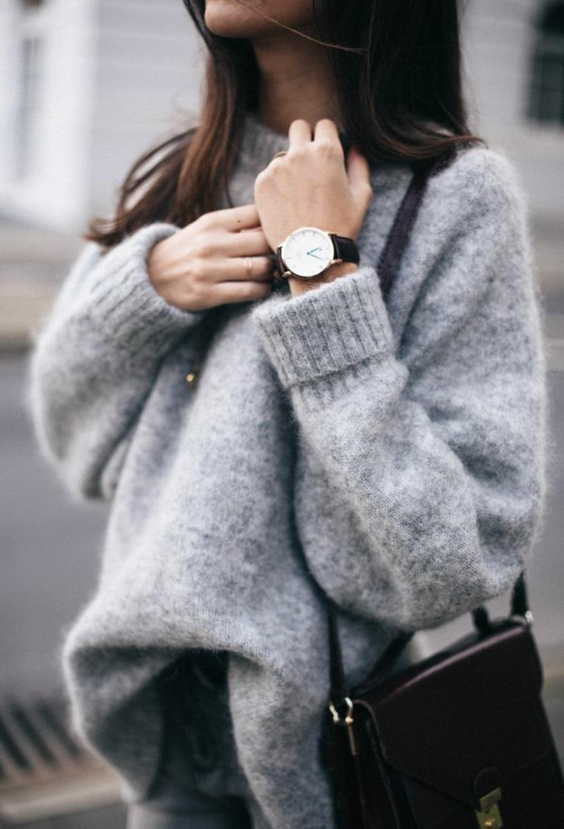 Wintermode Sweatshirt Damen grau kuschelweich