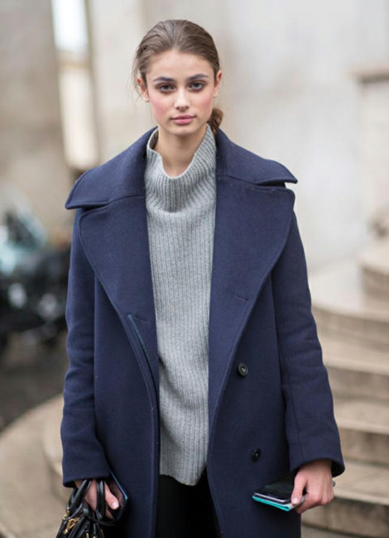 Wintermode Sweatshirt Damen oversize Mantel dunkelblau