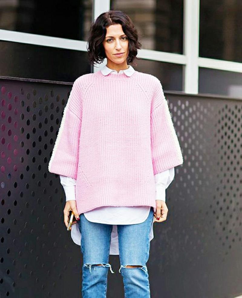 Wintermode Sweatshirt Damen rosa oversize Hemd