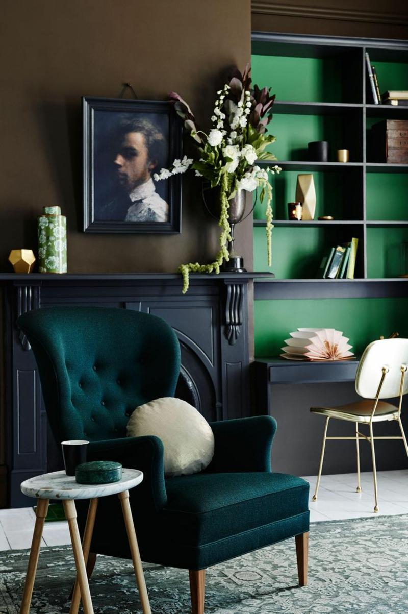 Wohnideen und Trends 2016 Einrichtungsideen Wohnzimmer Sessel Wandfarbe Grün