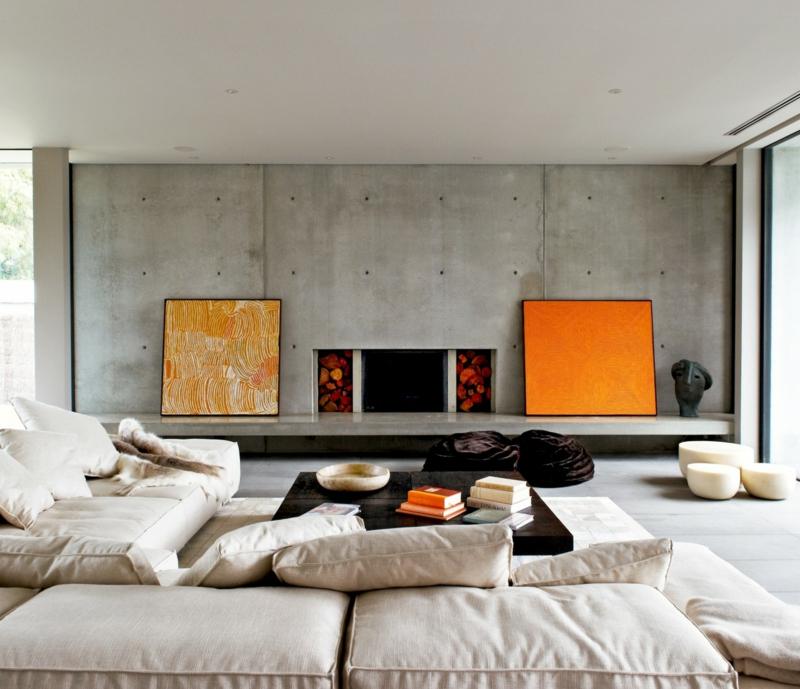 Wohnideen und Trends Einrichtungsideen Wohnzimmer Betonwand