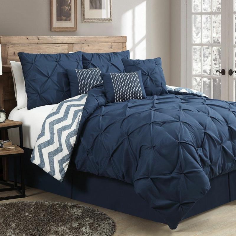 ausgefallene Bettwäsche blau Winterbettwäsche Chevron Muster