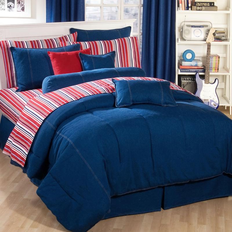 ausgefallene Bettwäsche blau rot weiße Streifen