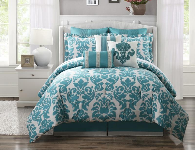 ausgefallene Bettwäsche blau weiß Muster korbinieren