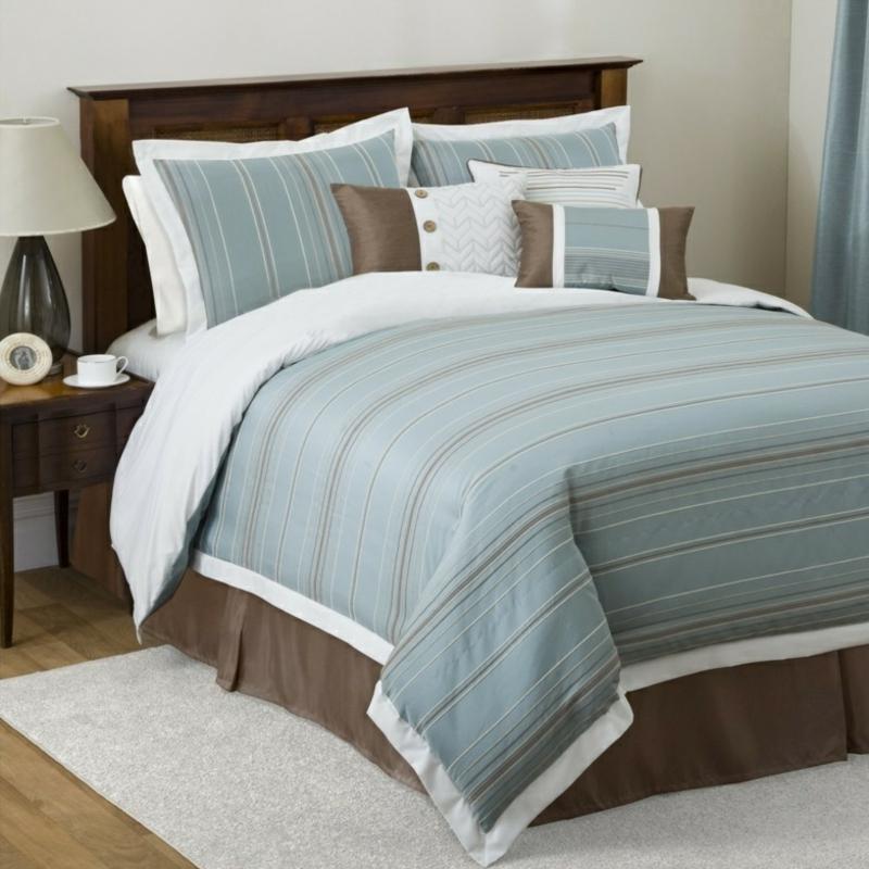 ausgefallene Bettwäsche braun hellblau zweifarbig