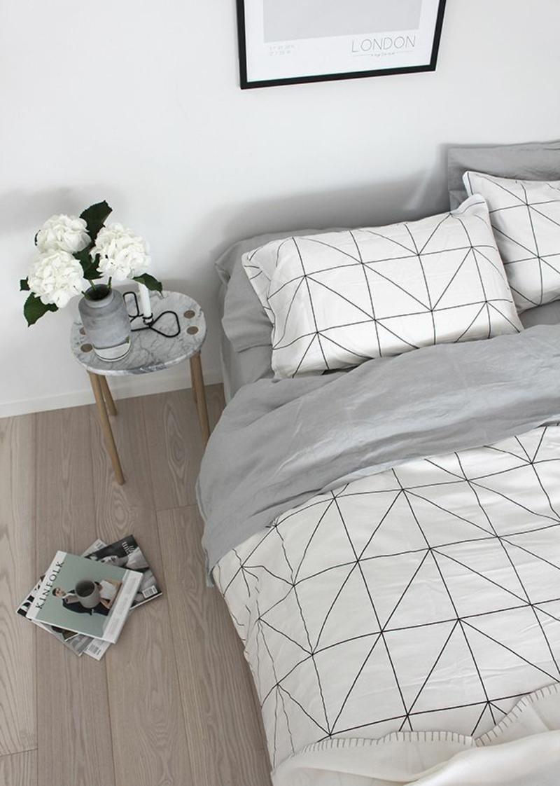 ausgefallene Bettwäsche einfaches geometrisches Muster grau weiß