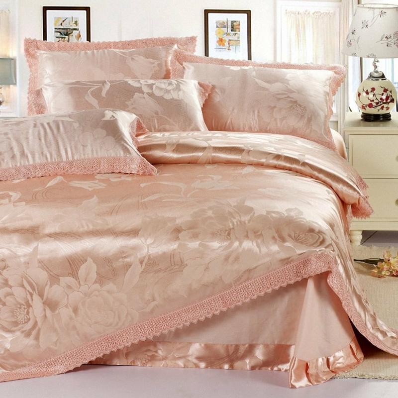 ausgefallene Bettwäsche einfarbig satin Bettlaken pfirsich Farbe
