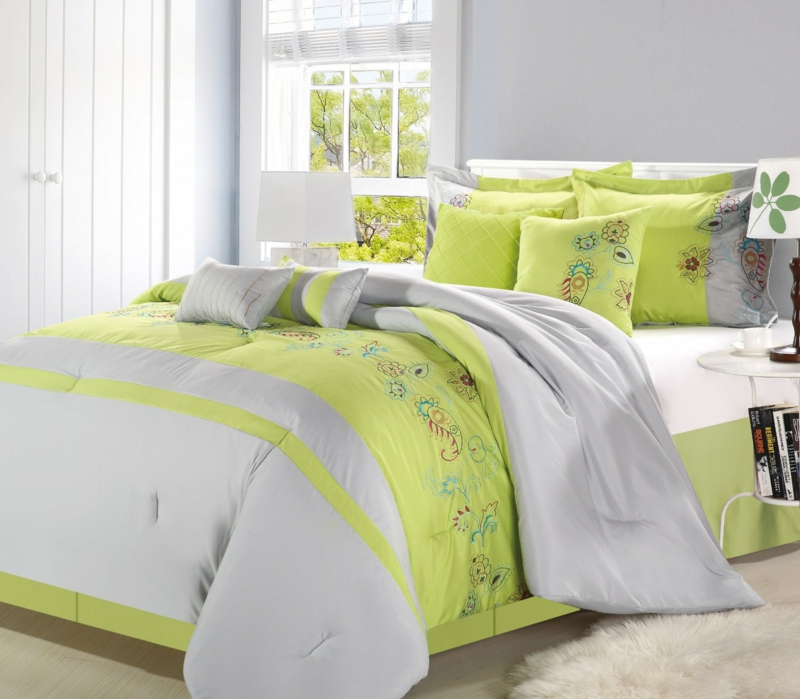 lime green bedding - 822×719