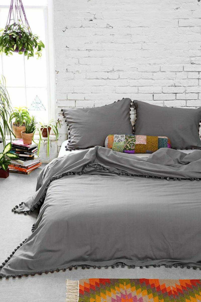 Ausgefallene Bettwäsche Grau Rustikales Schlafzimmer Einrichten