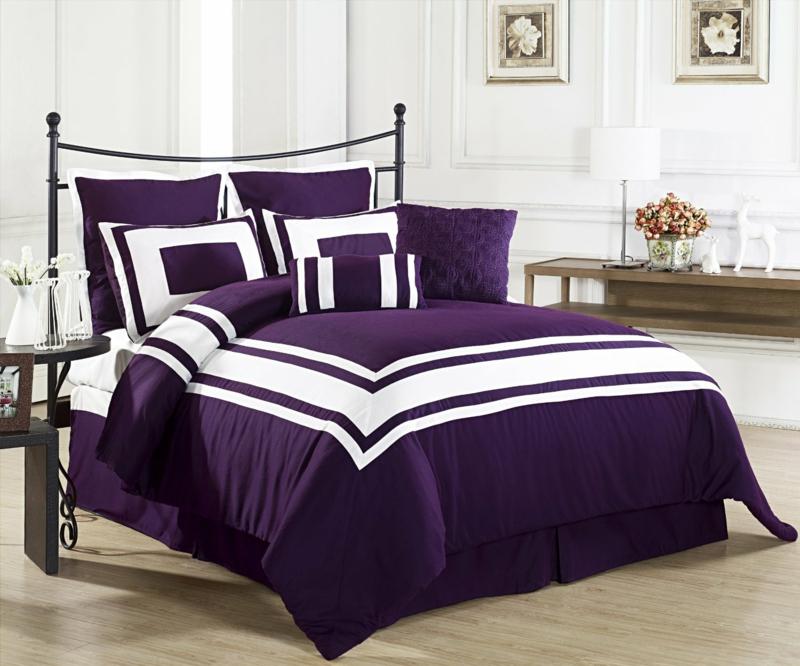 ausgefallene Bettwäsche lila weiß Bettlaken