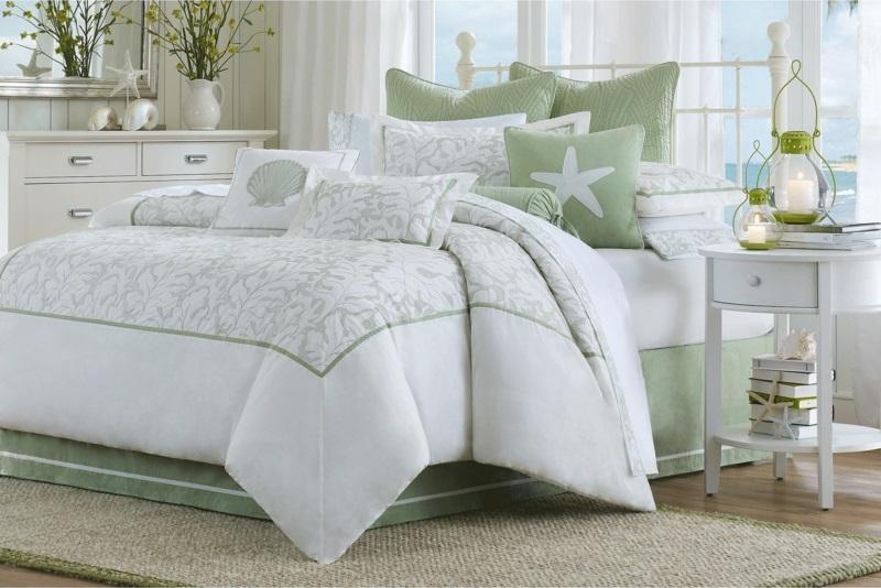 ausgefallene Bettwäsche maritimer Stil weiß hellgrün