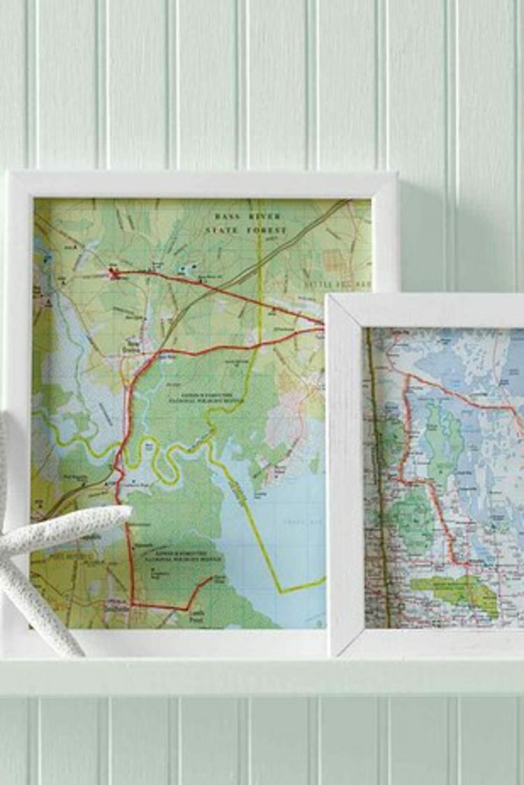 ausgefallene Geschenkideen DIY Geschenke mit Landkarte und Bilderrahmen