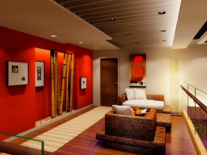 bambus deko bambusstangen dekoration ideen wohnbereich wandgestaltung wanddekoration