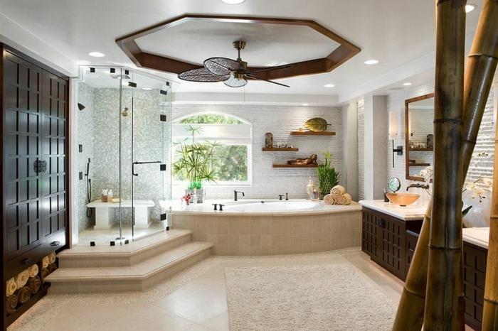 bambus deko bambusstangen ideen badeinrichtung dekoraton zimmerpflanze exotisch asiatischer stil