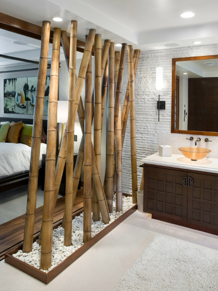 bambus deko bambusstangen ideen raumteiler rumtrenner badezimmer schlafzimmer weiße kieselsteine