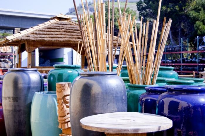 bambusstangen deko bambusstangen keramikvasen ethnodekoration