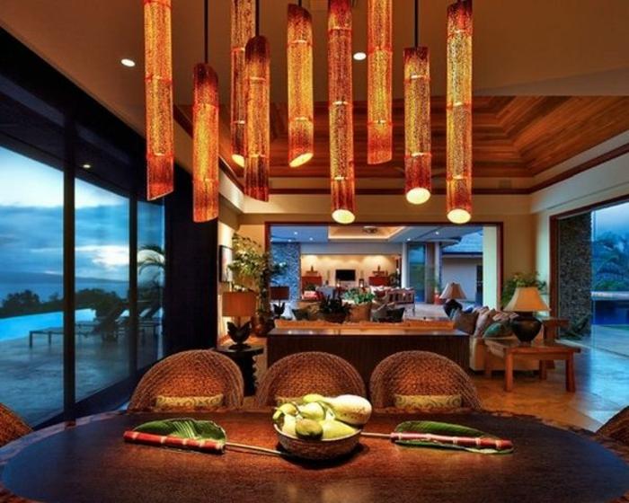 bambus deko bambusstangen pendelleuchten küche esszimmer