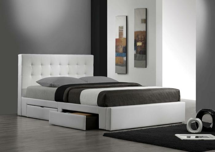 bett mit stauraum weißes bett wohnideen schlafzimmer schubladen design