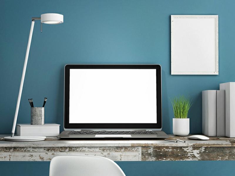 blaue Wandfarbe Arbeitszimmer Wände streichen