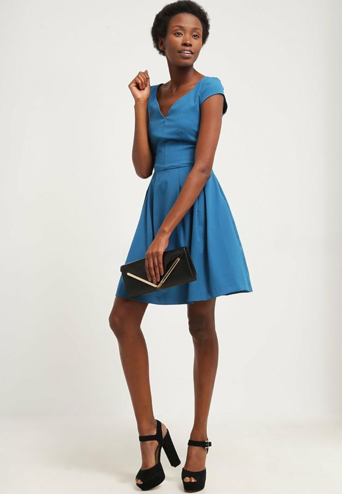 blaues kleid farbgestaltung blaue kleider dessin petrol jersy