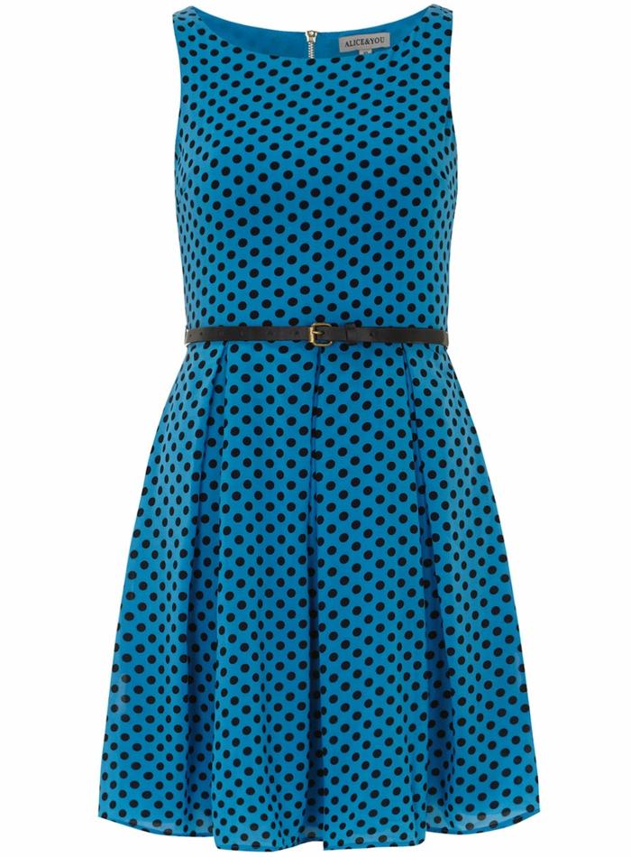 blaues kleid farbgestaltung blaue kleider dessin seide gepunktet