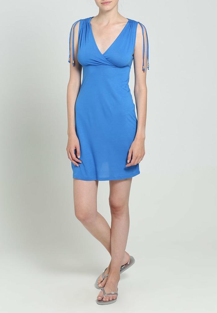 blaues kleid farbgestaltung blaue  kleider dessin seide sommerlich