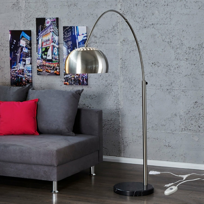 bogenlampe big bow bogenleuchte chrome design delights