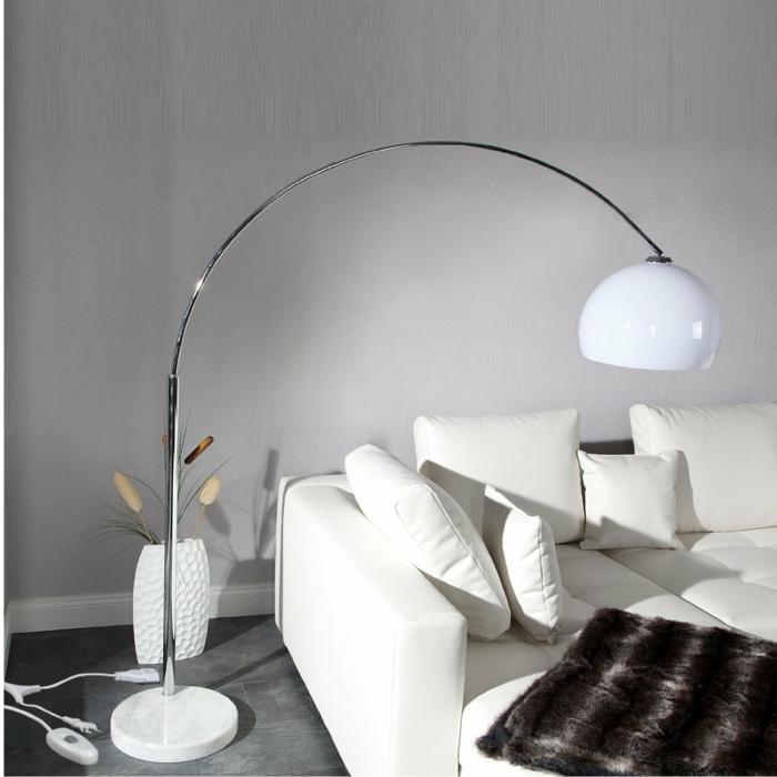 bogenlampe big bow retro design stehlampe weiß xtradefactory