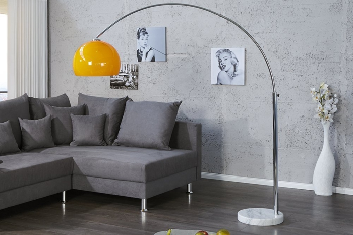 bogenlampe extenso stehlampe lounge deal orange invicta interior