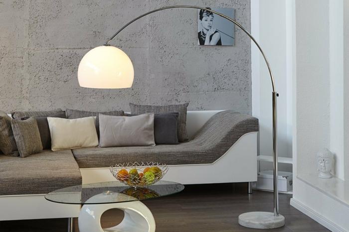 bogenlampe lounge deal aluminium milchglas retro design moderne inneneinerichtung invicta interior