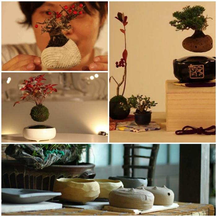 bonsai baum air basis schalen magnet pozellan hand gemacht kollage