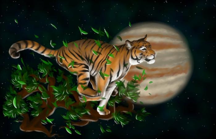 chinesische sternzeichen der feurige affe asia rot chinesisches horoskop tiger bild