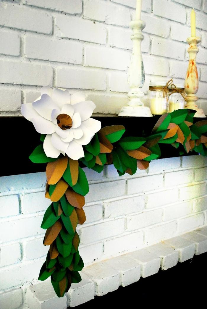 deko ideen selber machen magnolie blätter girlande