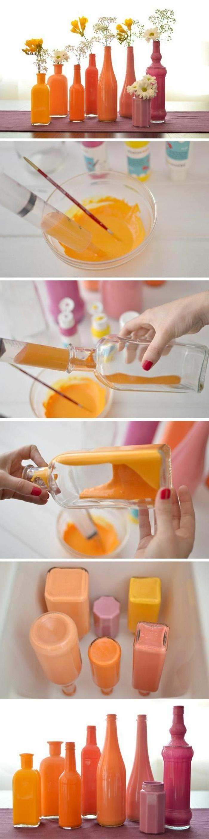 dekoideen diy alte gegenstände glasflaschen glasbehälter orange rosa gelb vasen selber machen