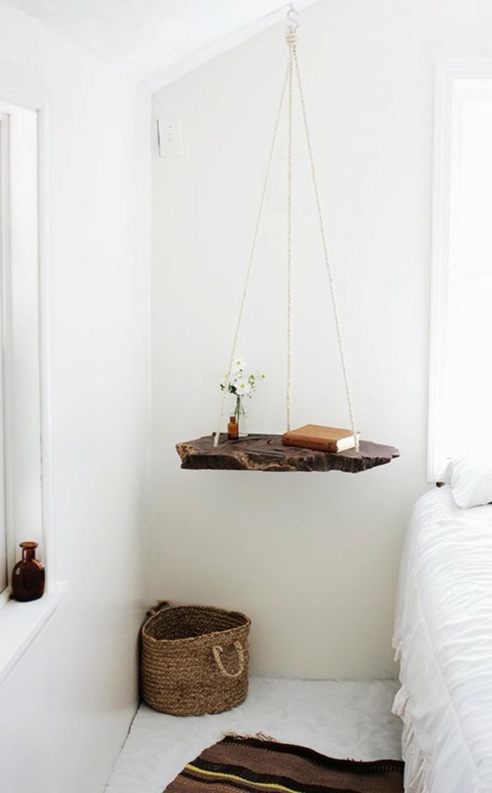 diy ideen nachttisch selber bauen hängend holz rustikal weißes schlafzimmer