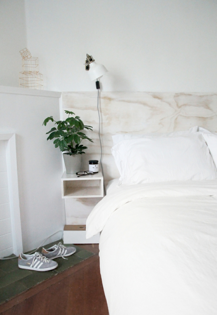 diy ideen schlafzimmer bettkopfteil nachttisch