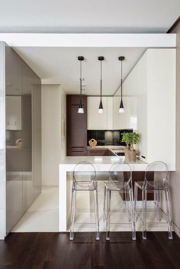 einrichtungsideen-küche-einrichtungstipps barhocker bartheke weiß durchsichtig minimalistisch wohnen moderne kueche