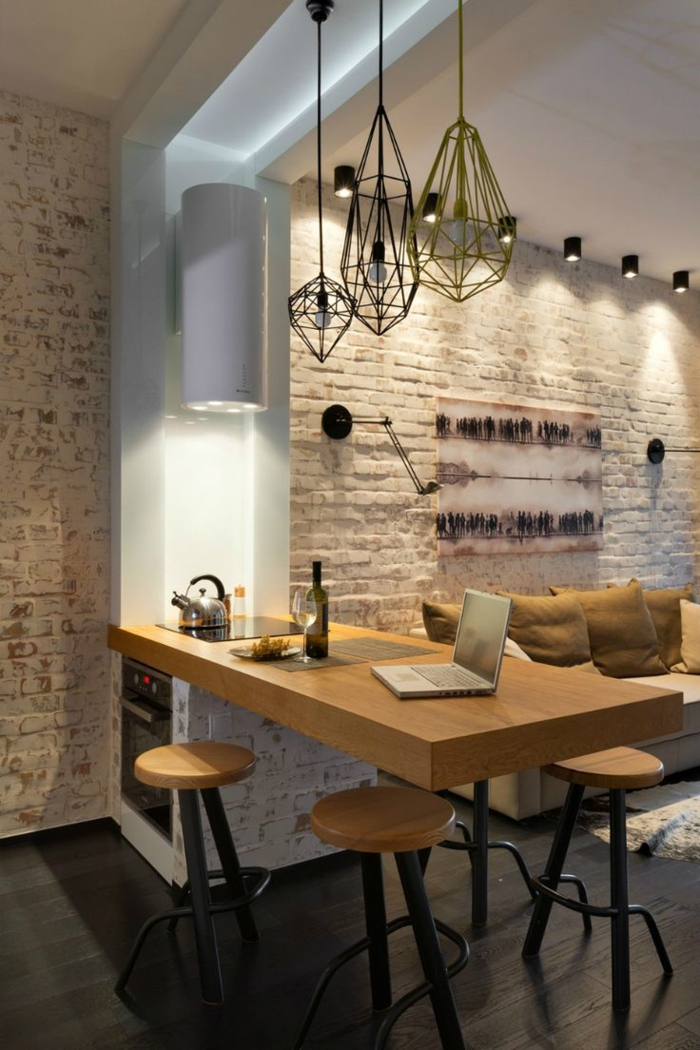 einrichtungsideen küche einrichtungstipps barhocker theke kücheninsel modern wohnen offener wohnplan loft wohnung ziegelwand