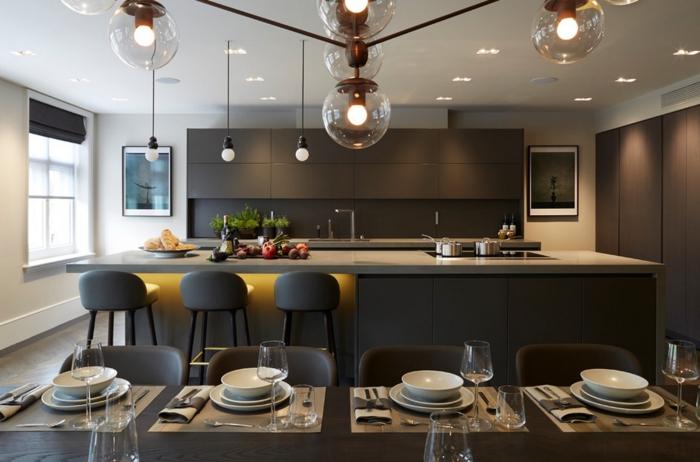 einrichtungsideen küche einrichtungstipps esszimmer esstisch bartheke barhocker grau