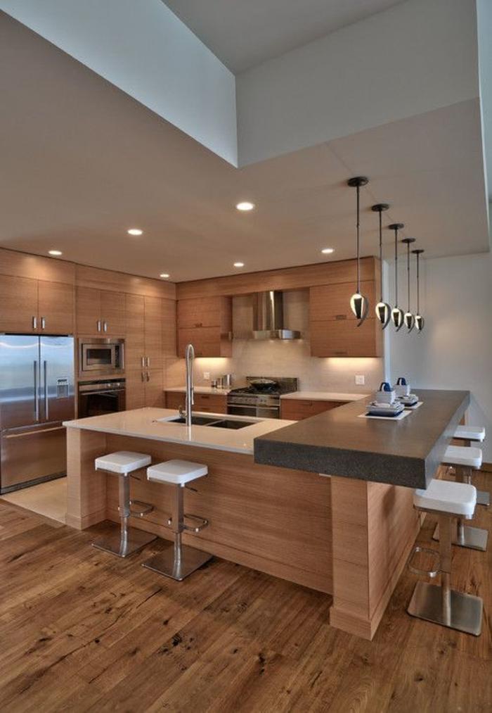 einrichtungsideen küche modern wohnen kücheninsel bartheke barhocker helles holz module