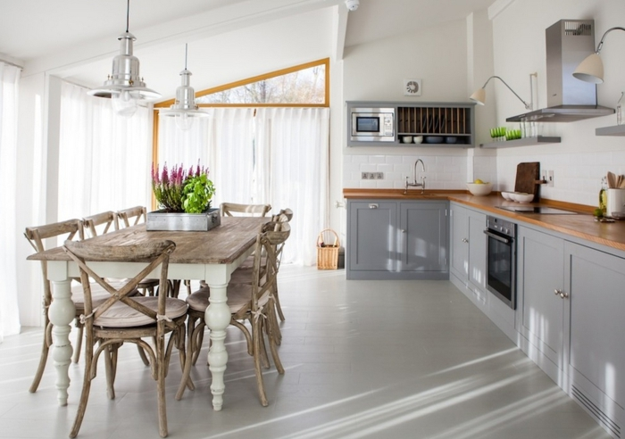 einrichtungsideen küche essraum wohnzimmer wohnideen esstisch shabby chic stühle