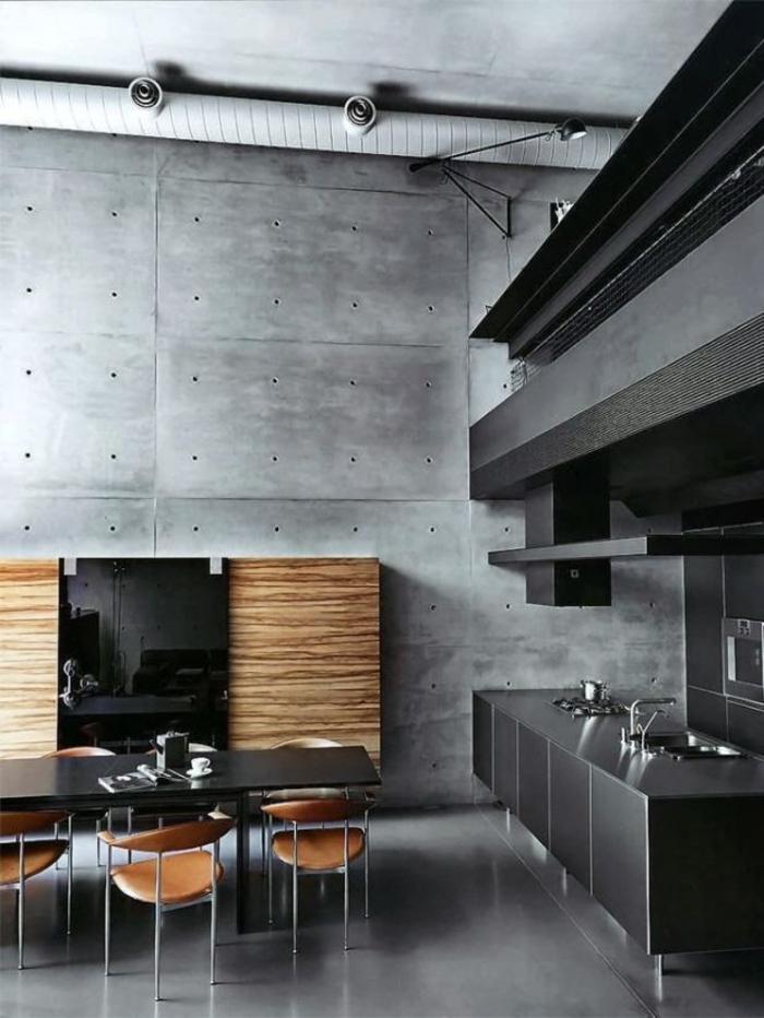 einrichtungsideen kueche modern betonwände wandgestaltung loft wohnung esstisch lang stühle leder
