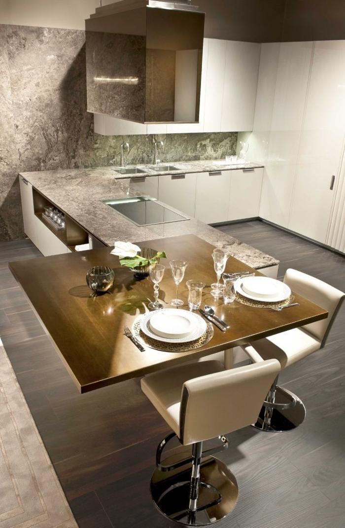 einrichtungsideen kueche modern wohnen esstisch kücheninsel stühle leder weiß arbeitsfläche marmor