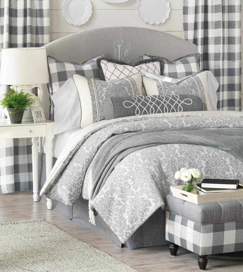 elegante Bettwäsche grau Muster kombinieren