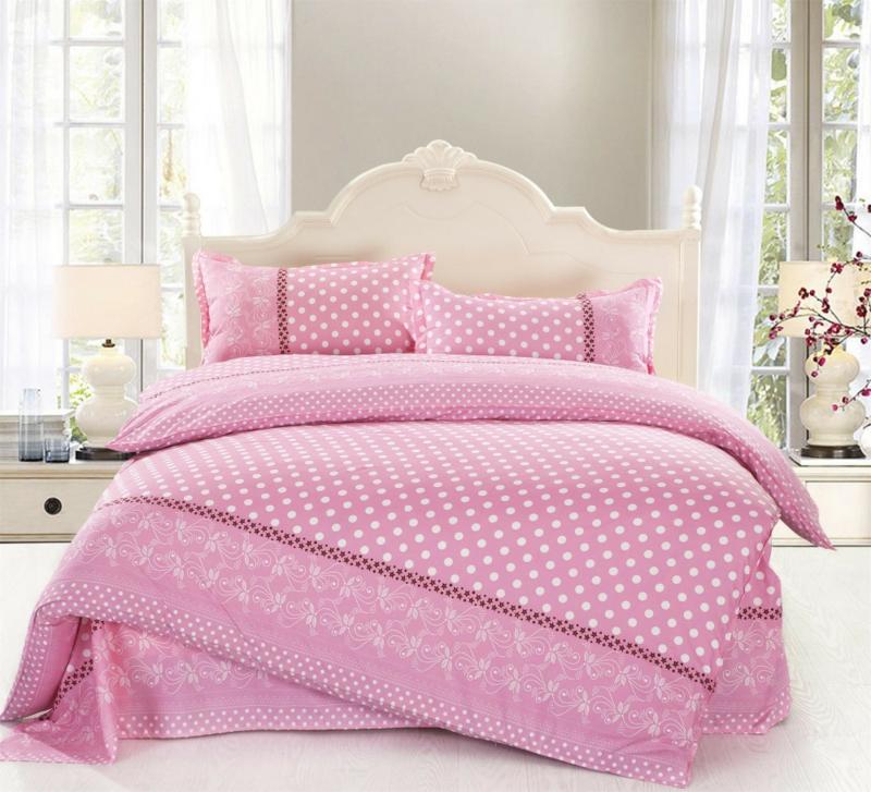 exclusive Bettwäsche Punkte rosa weiß