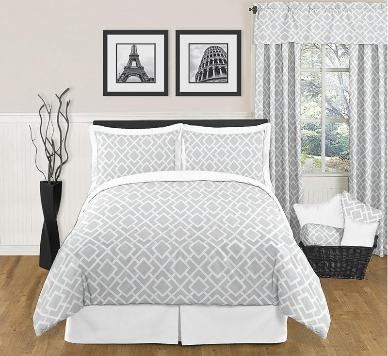 exclusive Bettwäsche und Gardinen grau weiß Muster
